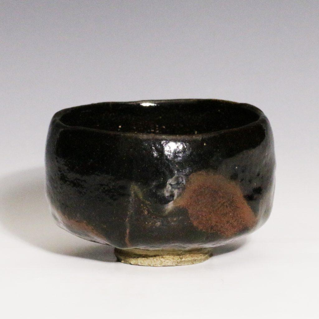 鶴亭作 黒茶碗
